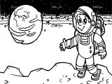 Astronaut Space Moon Coloring Page