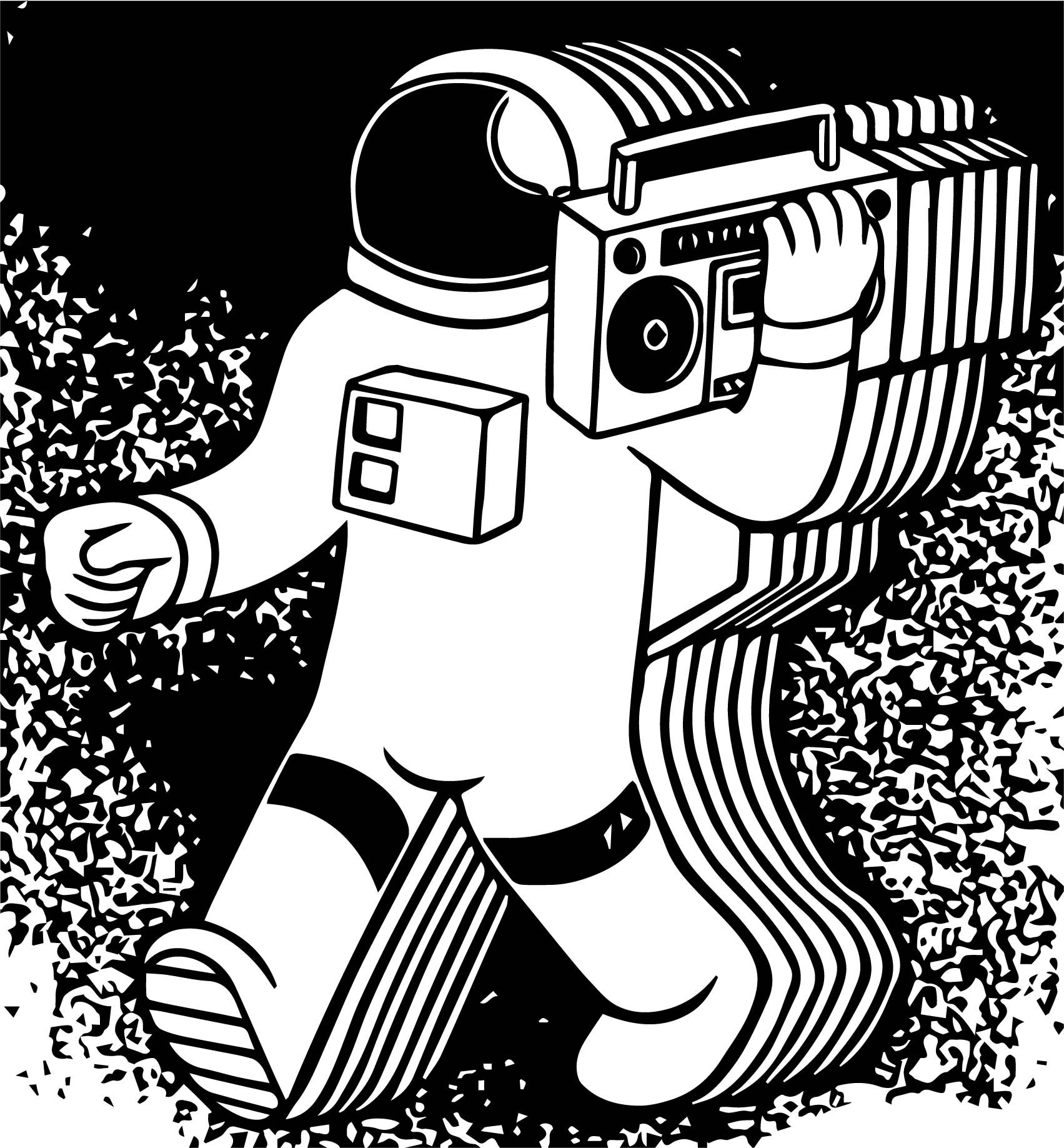 Astronaut Tape Coloring Page