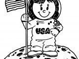 Astronaut Usa Girl Coloring Page