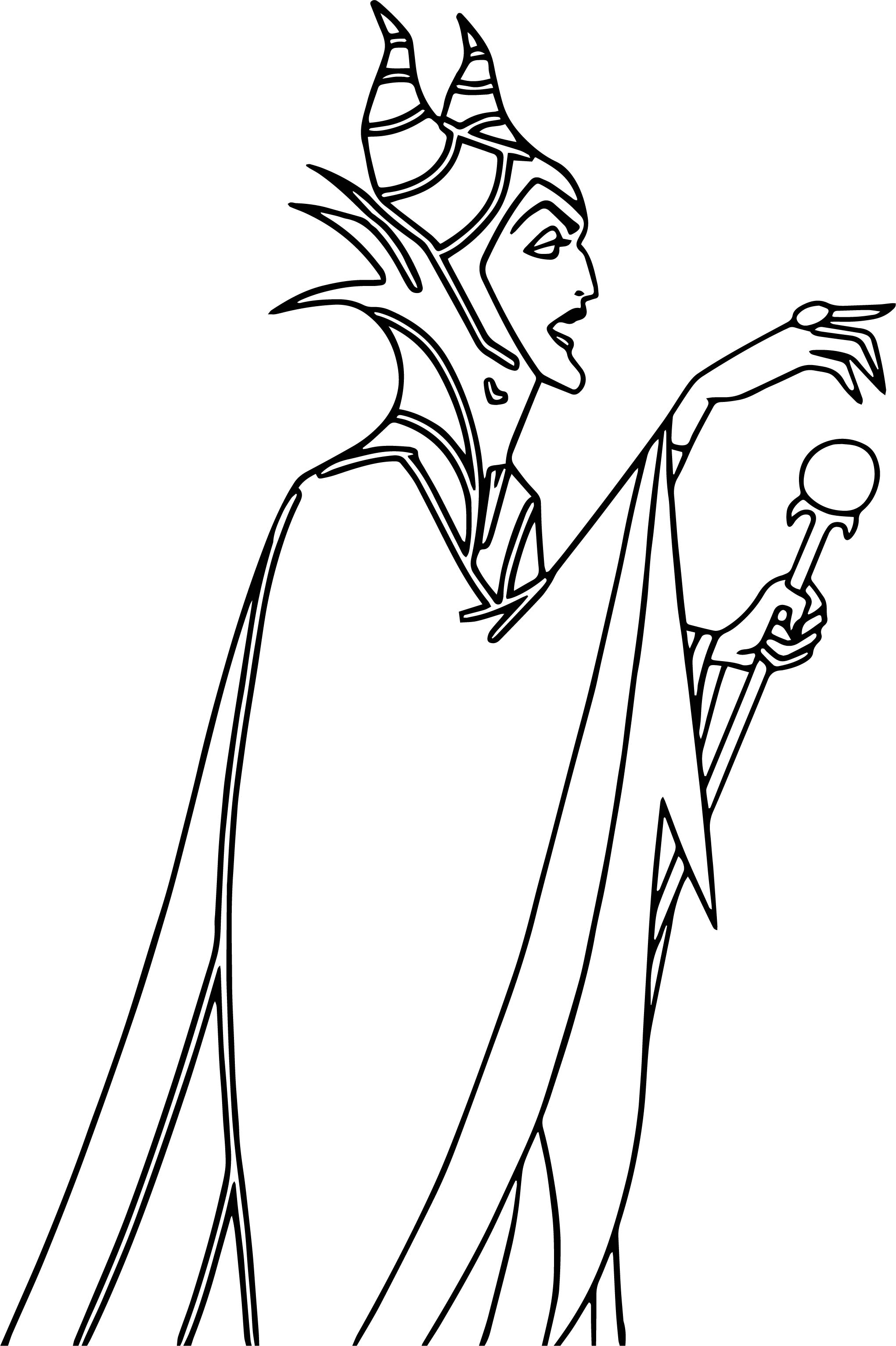 Aurora maleficent side coloring page for Maleficent coloring pages