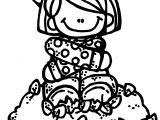 Autumn Girl Staying Coloring Page