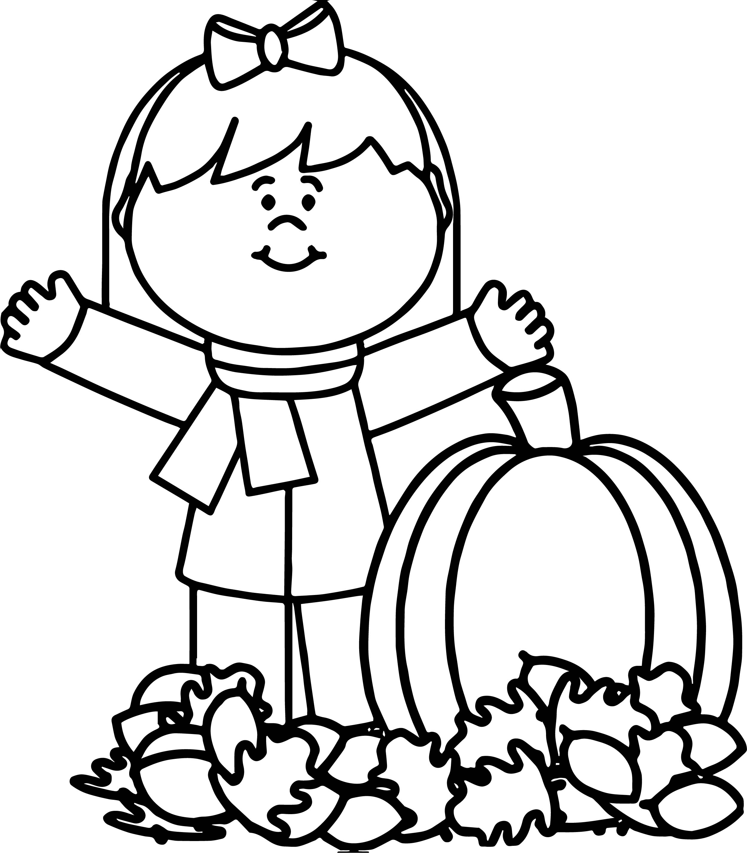 Autumn Happy Girl Coloring Page