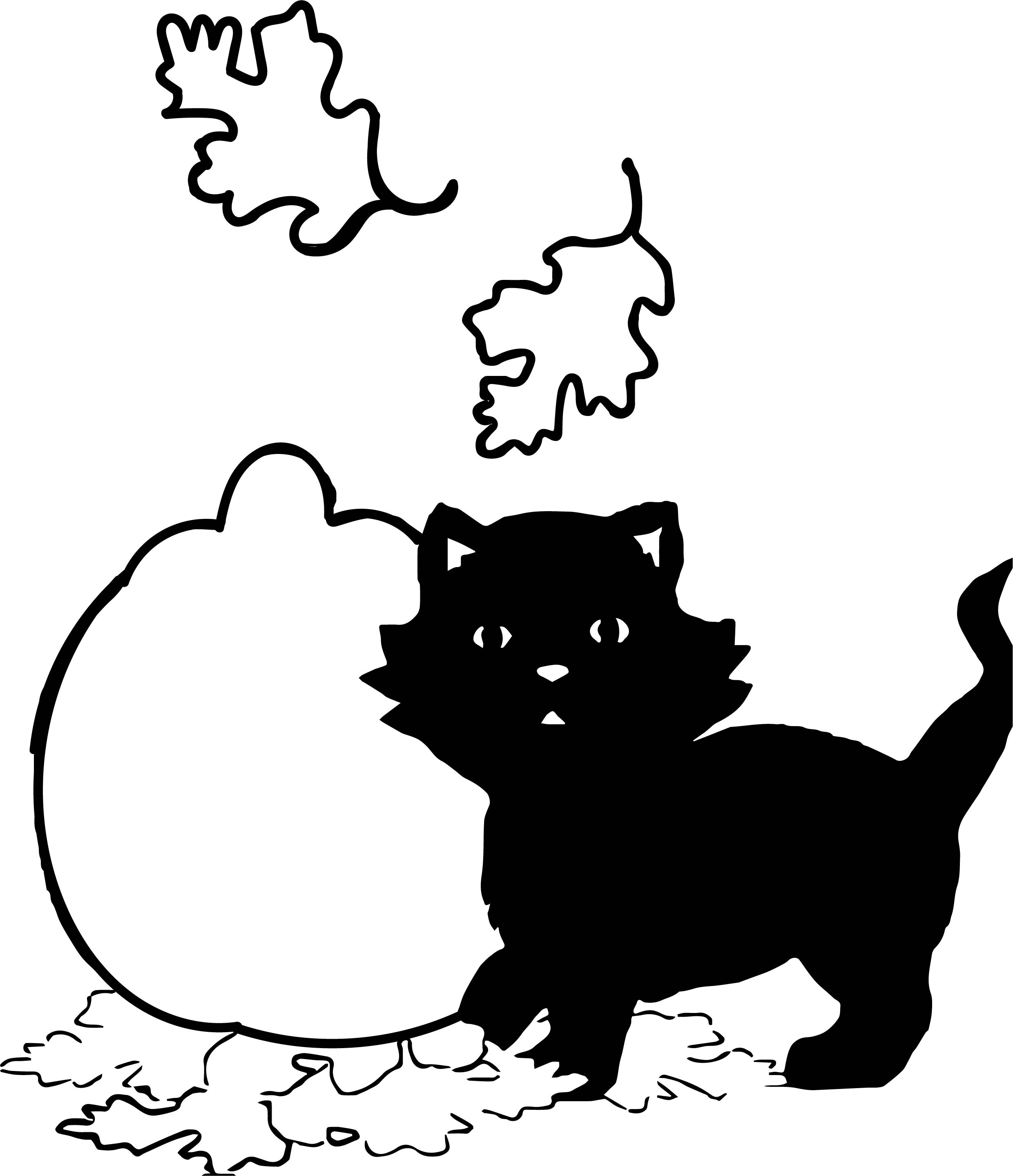 Autumn Pumkin With Kitty Black Cat Coloring Page