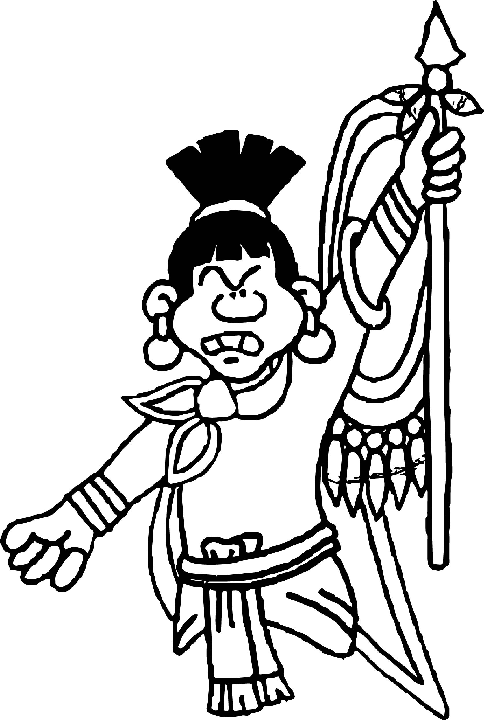 Aztec Angry Human Coloring Page