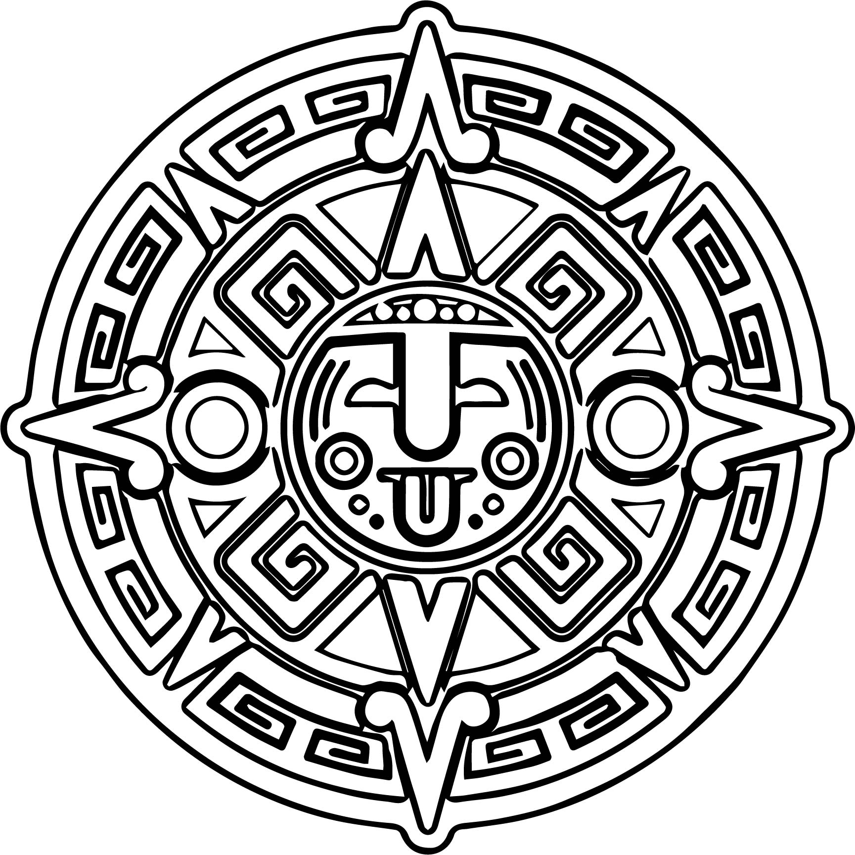 Aztec mandala coloring page for Aztec sun coloring page
