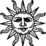 Aztec Sun Drawings Sun Woodcut Coloring Page