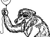 Baboon Balloon Coloring Page