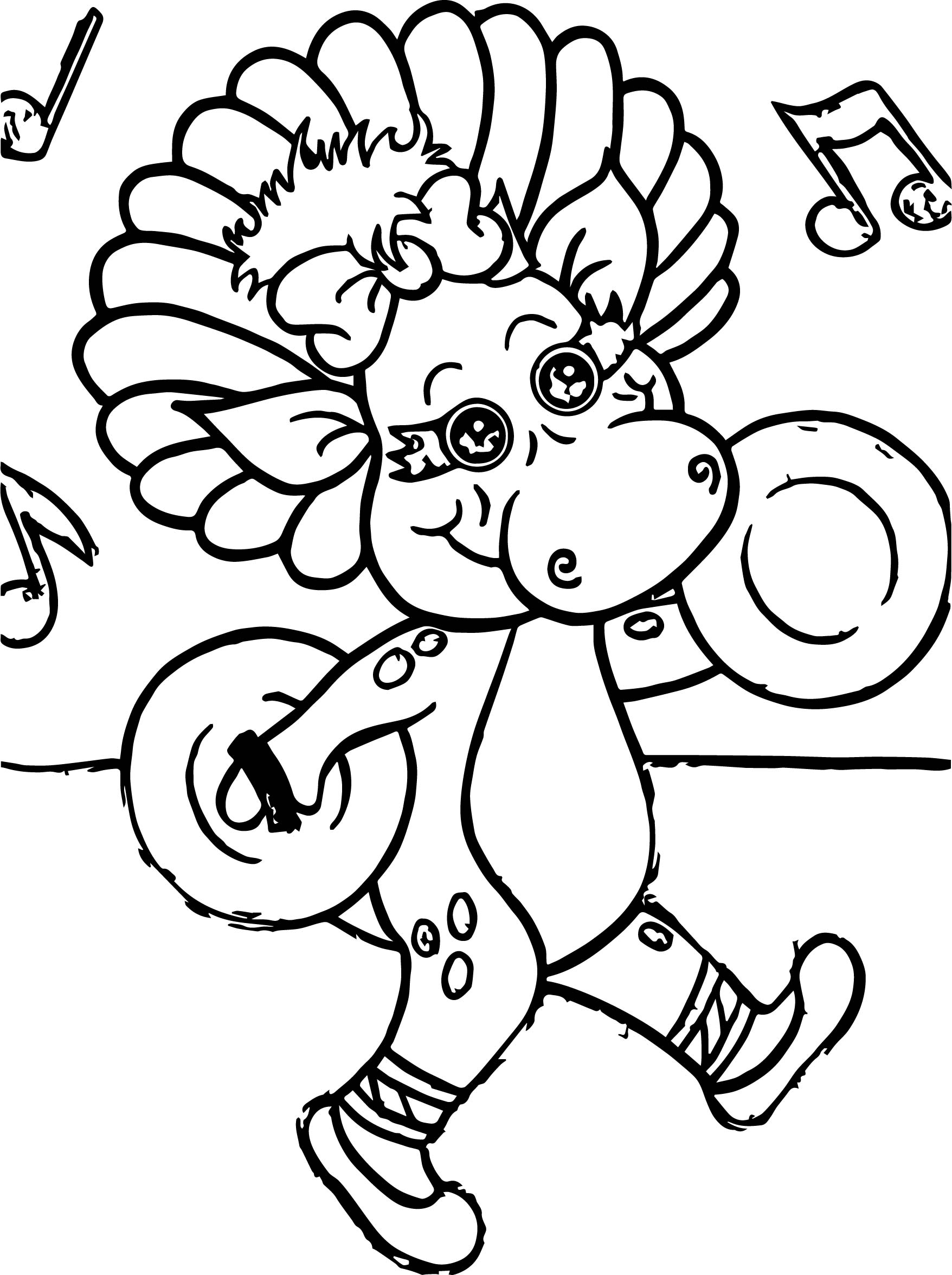 Baby Bop Likes To Make Music Coloring Page