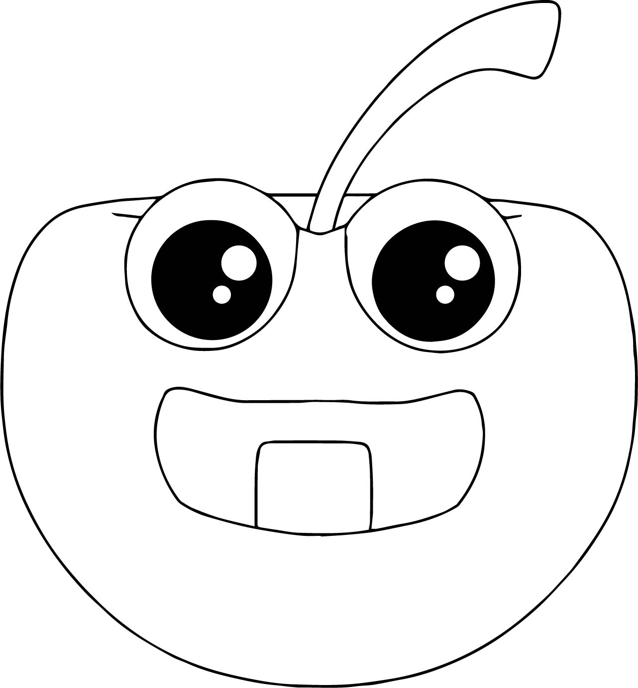 Cartoon Apple Coloring Pages : Baby cartoon apple coloring page wecoloringpage