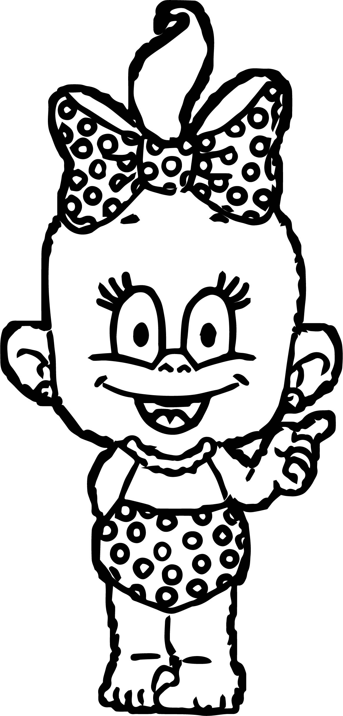 Baby Cartoon Girl Dotting Coloring Page