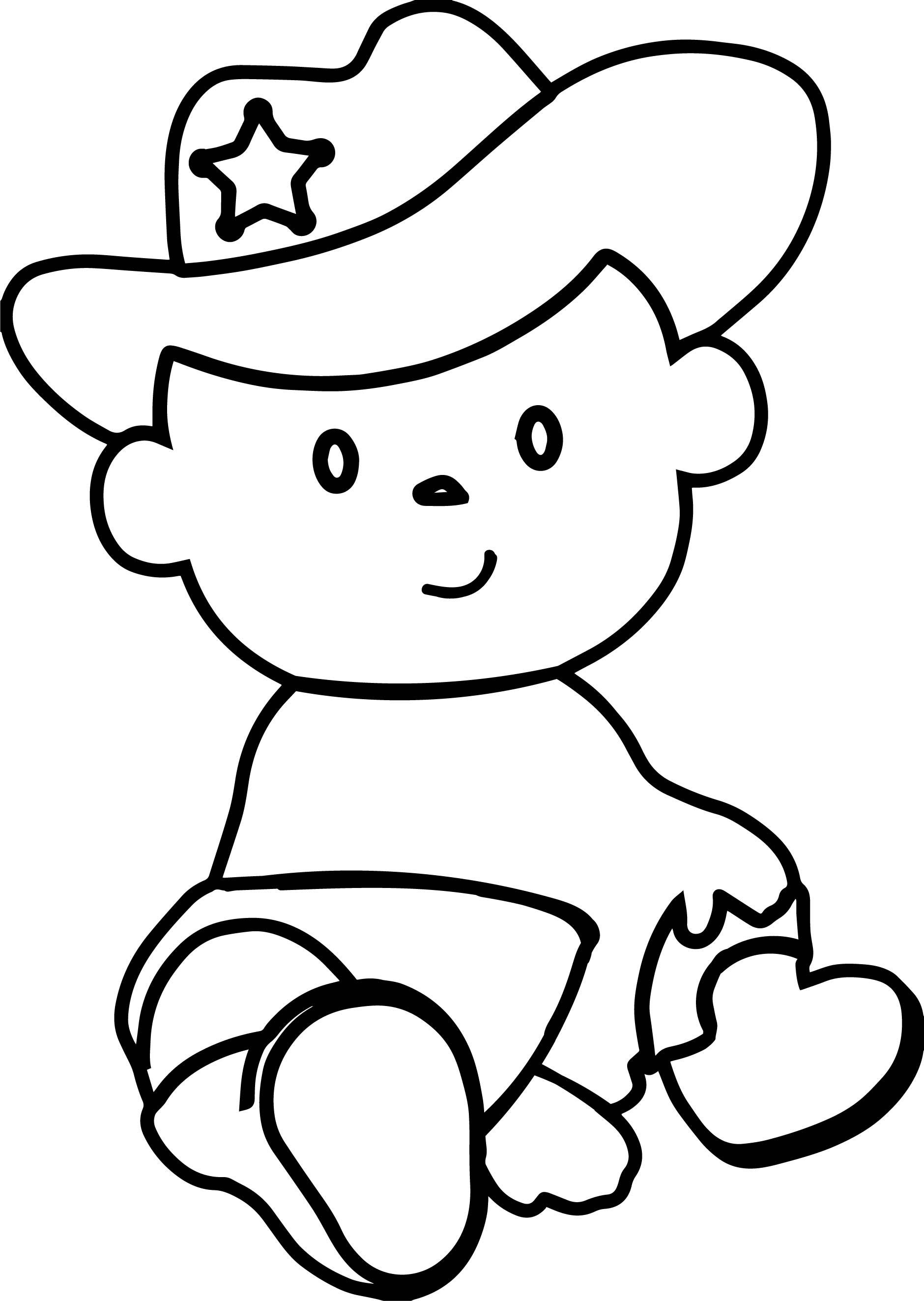 Baby Cowboy Coloring Page
