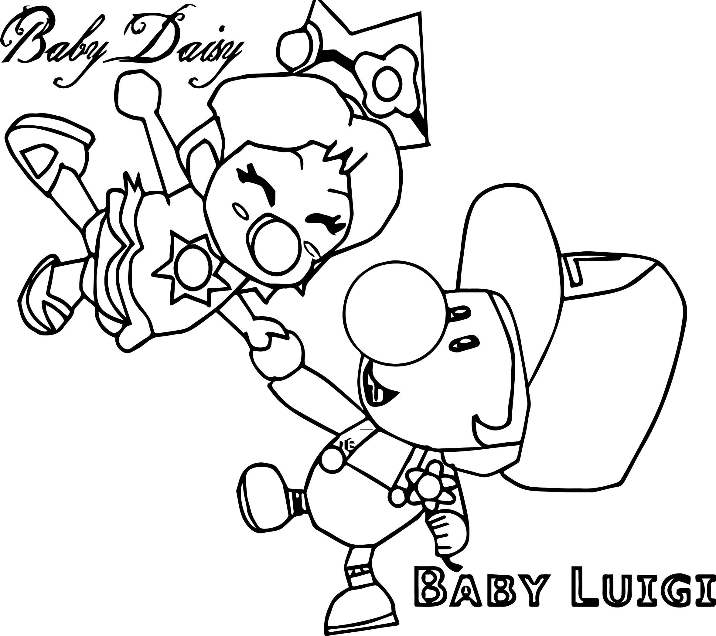 Baby Daisy Baby Luigi Coloring Page