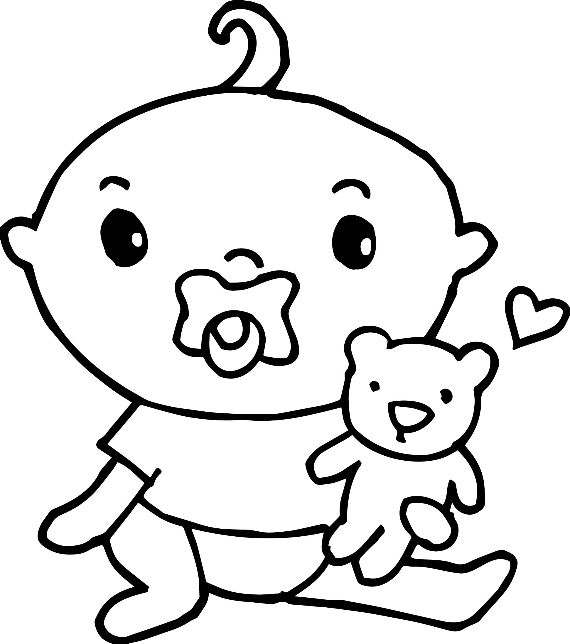 Baby Girl Bear Coloring Page