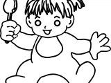 Baby Girl Spoon Coloring Page