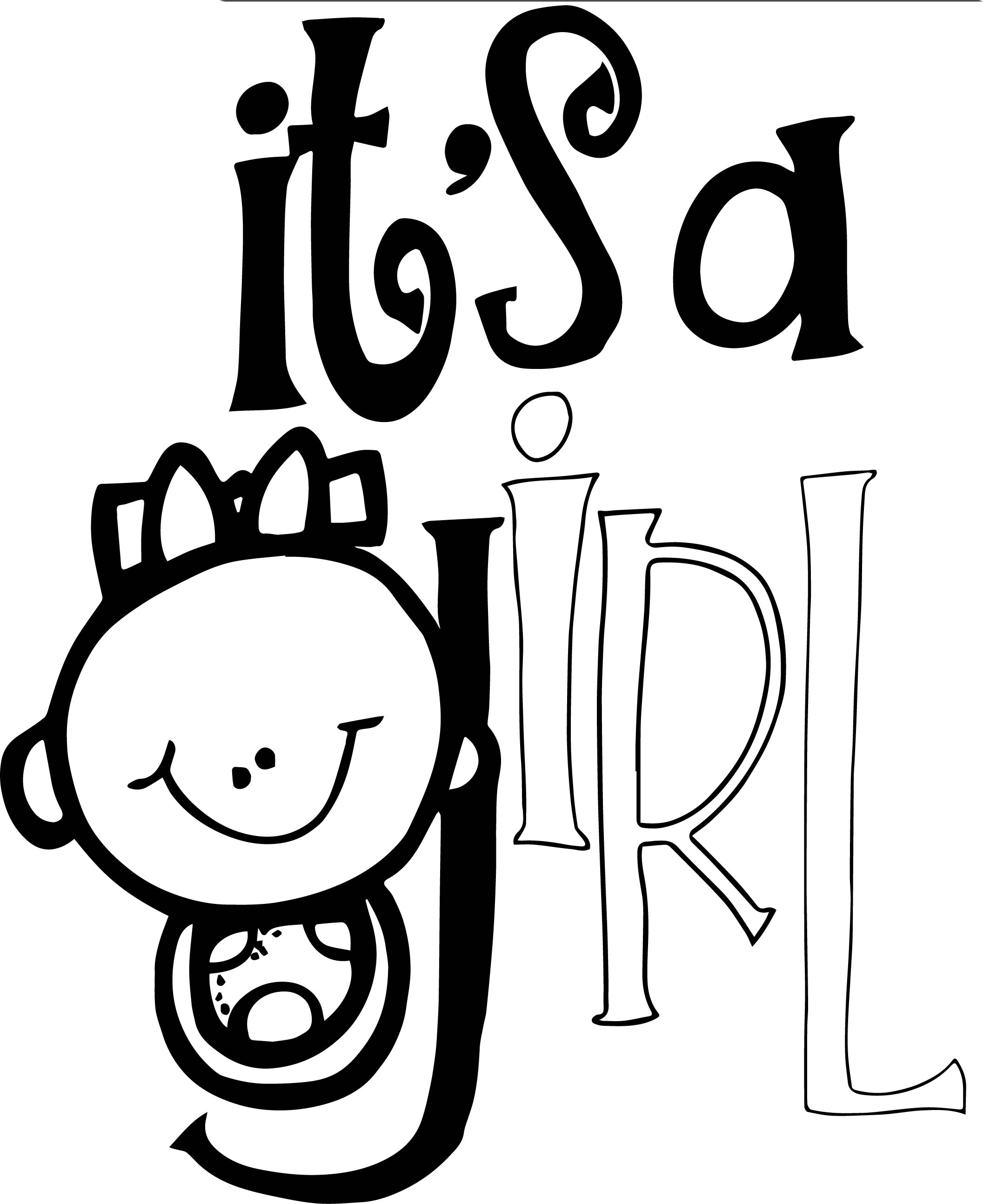 Baby Girl Text Coloring Page