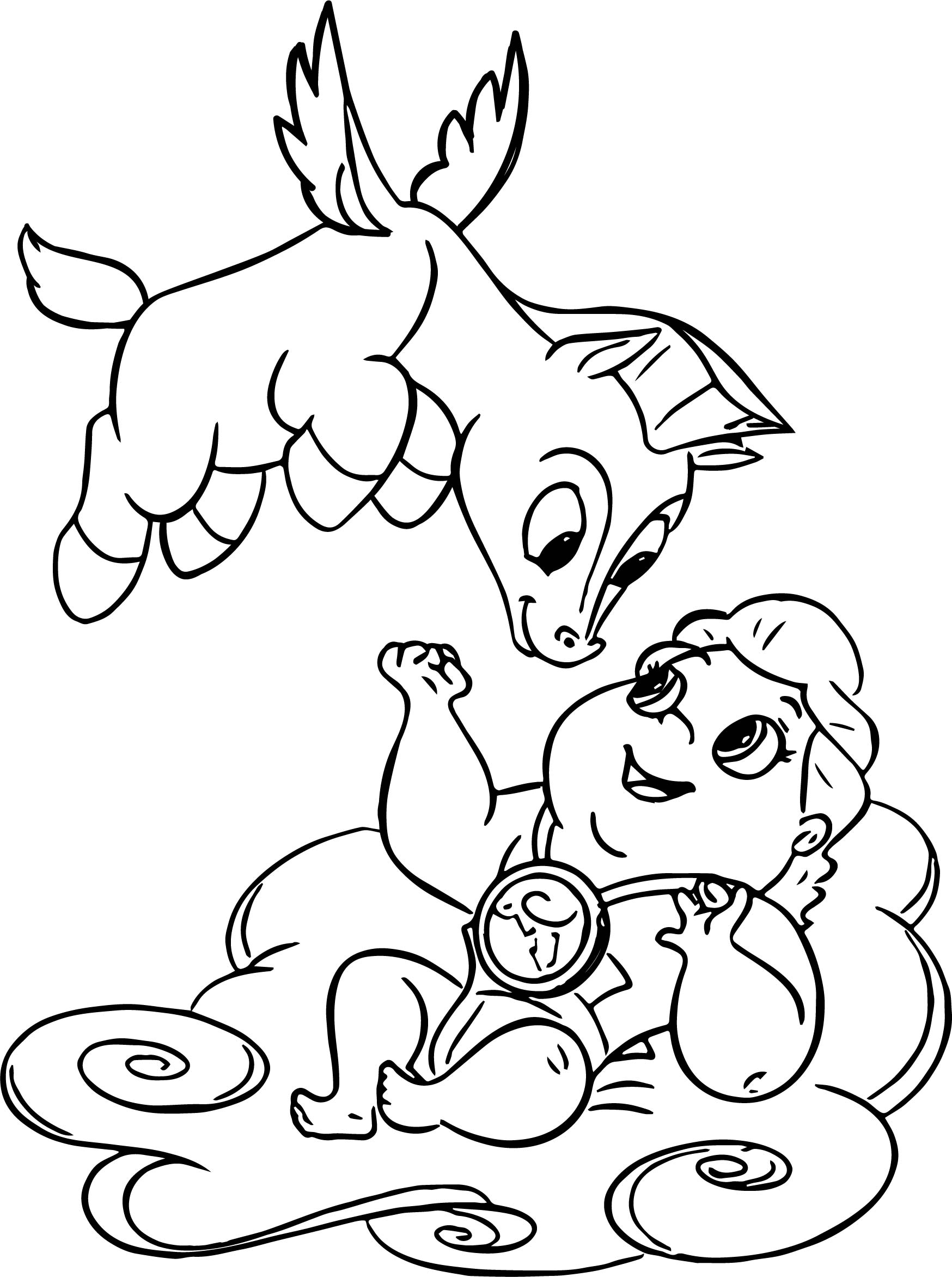 Baby Hercules And Flying Baby Pegasus