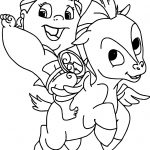 Baby Hercules Riding Baby Pegasus Coloring Pages