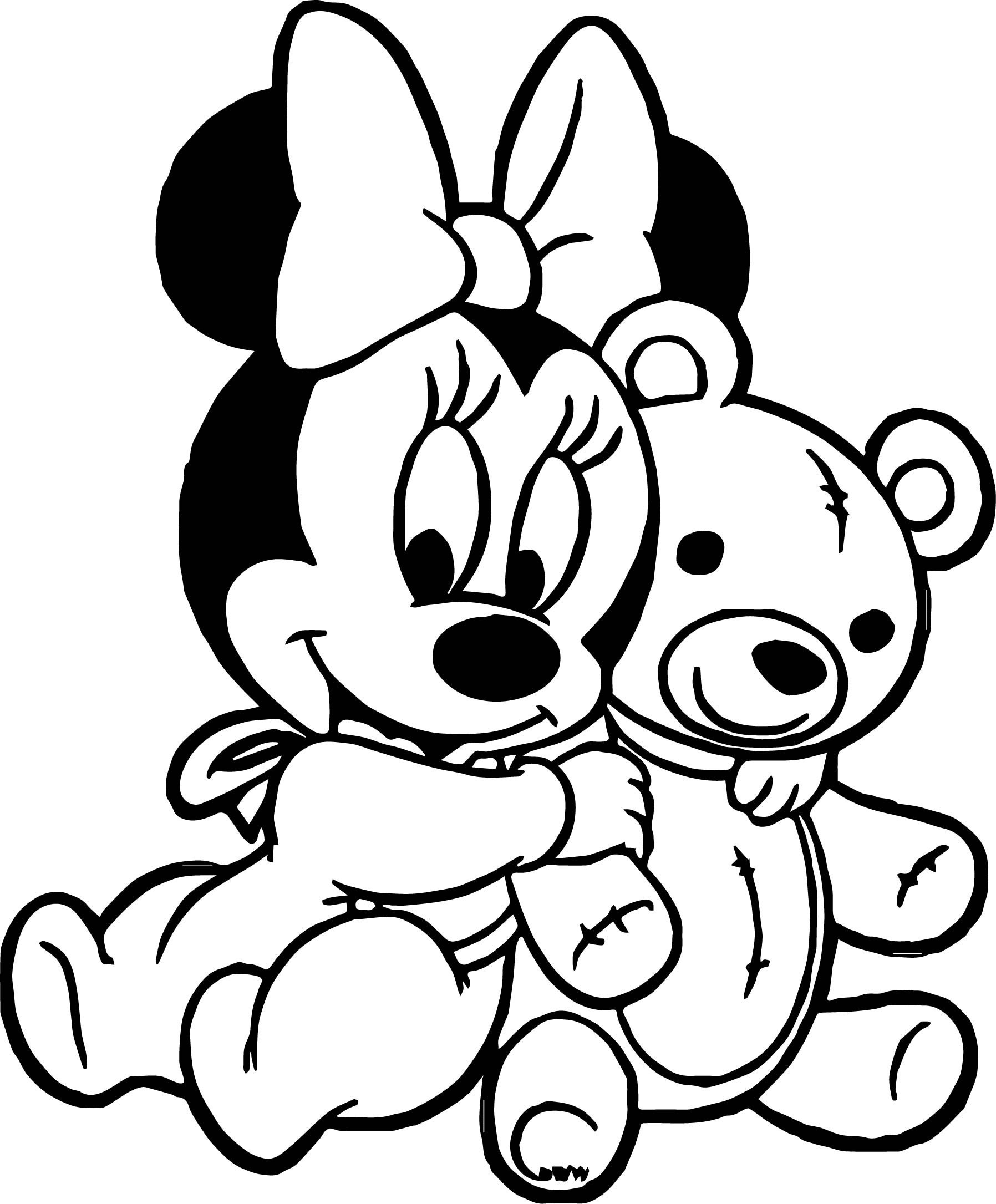 Baby mickey minnie playing bear toy coloring page for Baby toys coloring pages