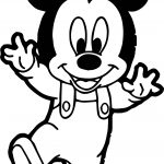 Baby Mickey Walking Coloring Page