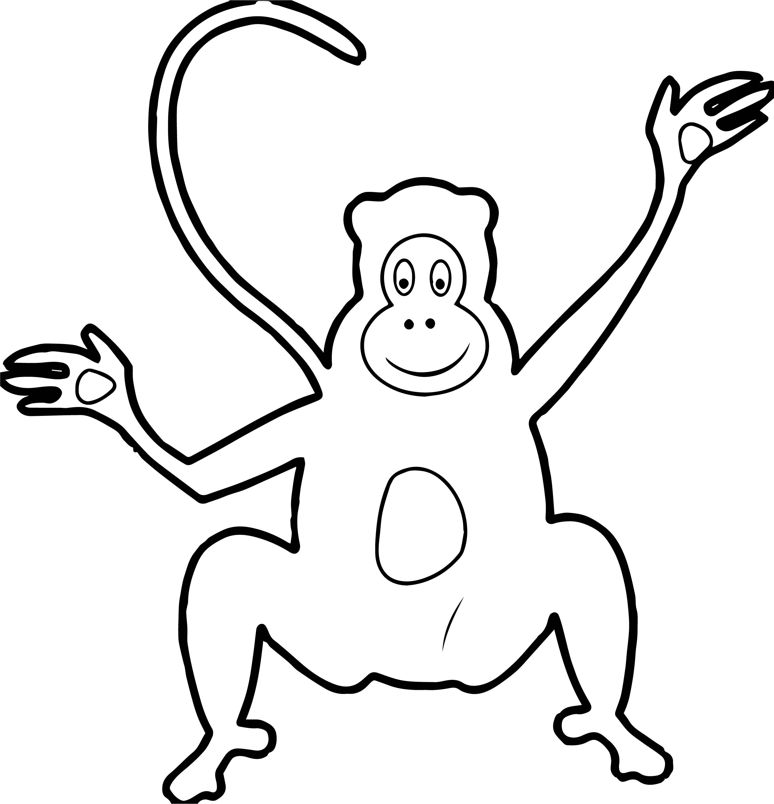 Baby Monkey Cartoon Ape Baboon Wild Funny Cute Coloring Page