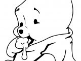 Baby Pooh Bear Eating Honey Coloring Page