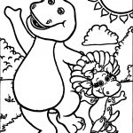 Barney And Baby Bop Have Fun Together Coloring Page