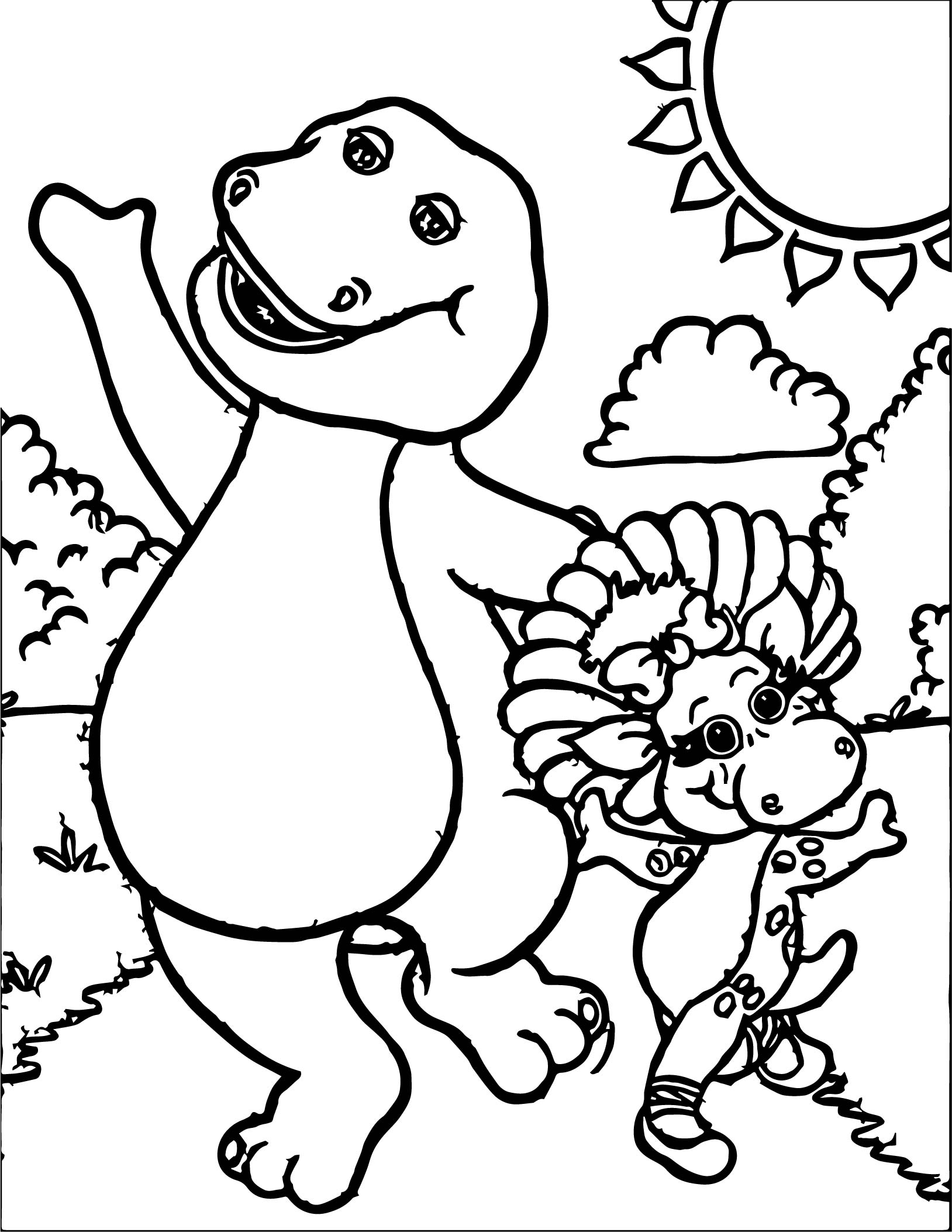 Barney and baby bop have fun together coloring page for Baby bop coloring pages