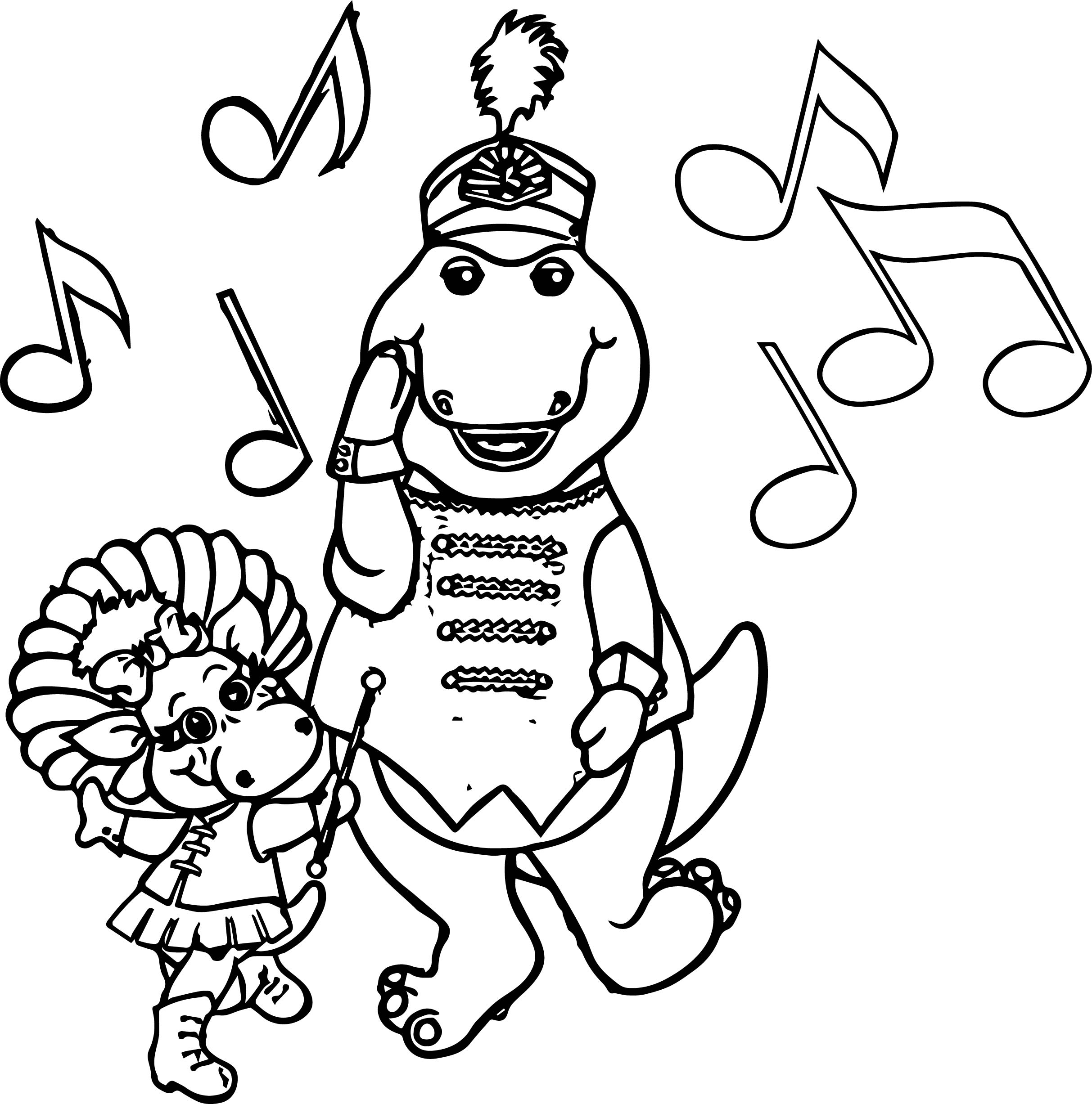 Barney And Baby Bop March In A Parade Coloring Page