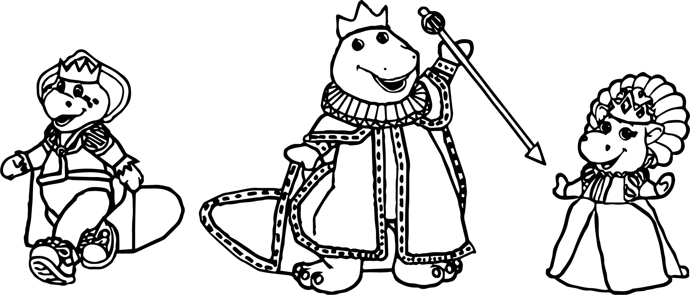 Barney Bj Baby Bop Royalty Coloring Page | Wecoloringpage