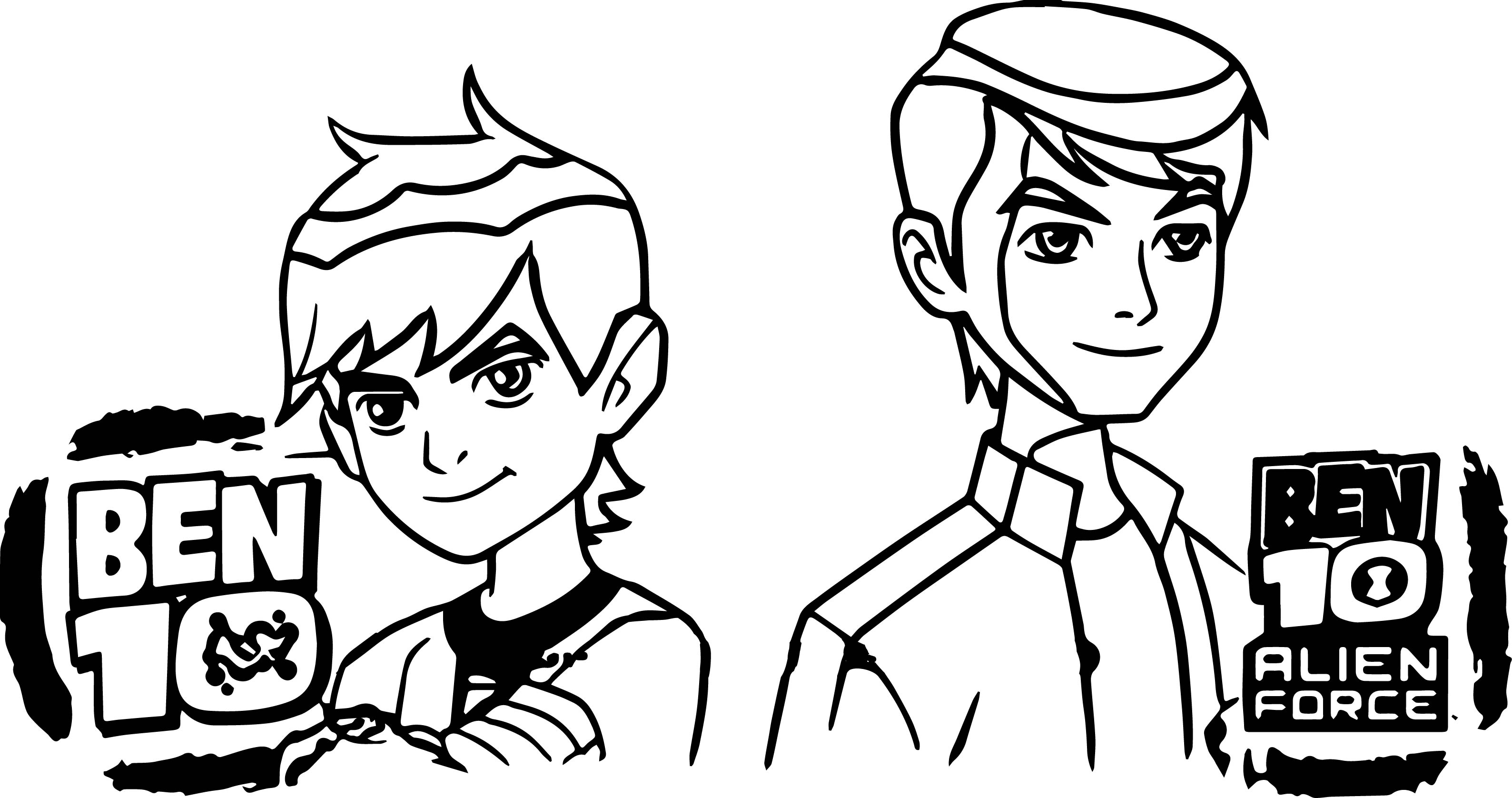 Ben 10 Alien Force Episode X Ben Two Before After Coloring Page