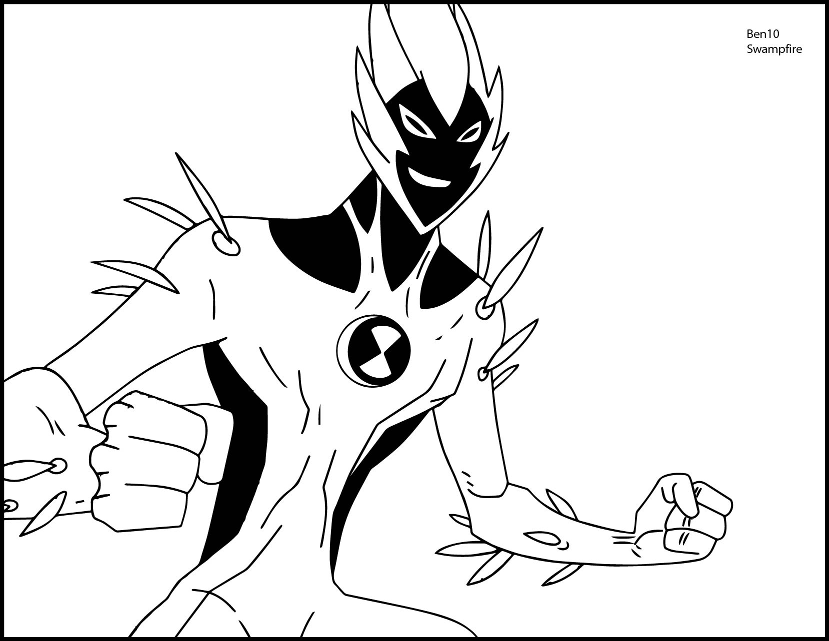 Ben 10 alien force swampfire we coloring page for Coloring pages of ben 10 aliens
