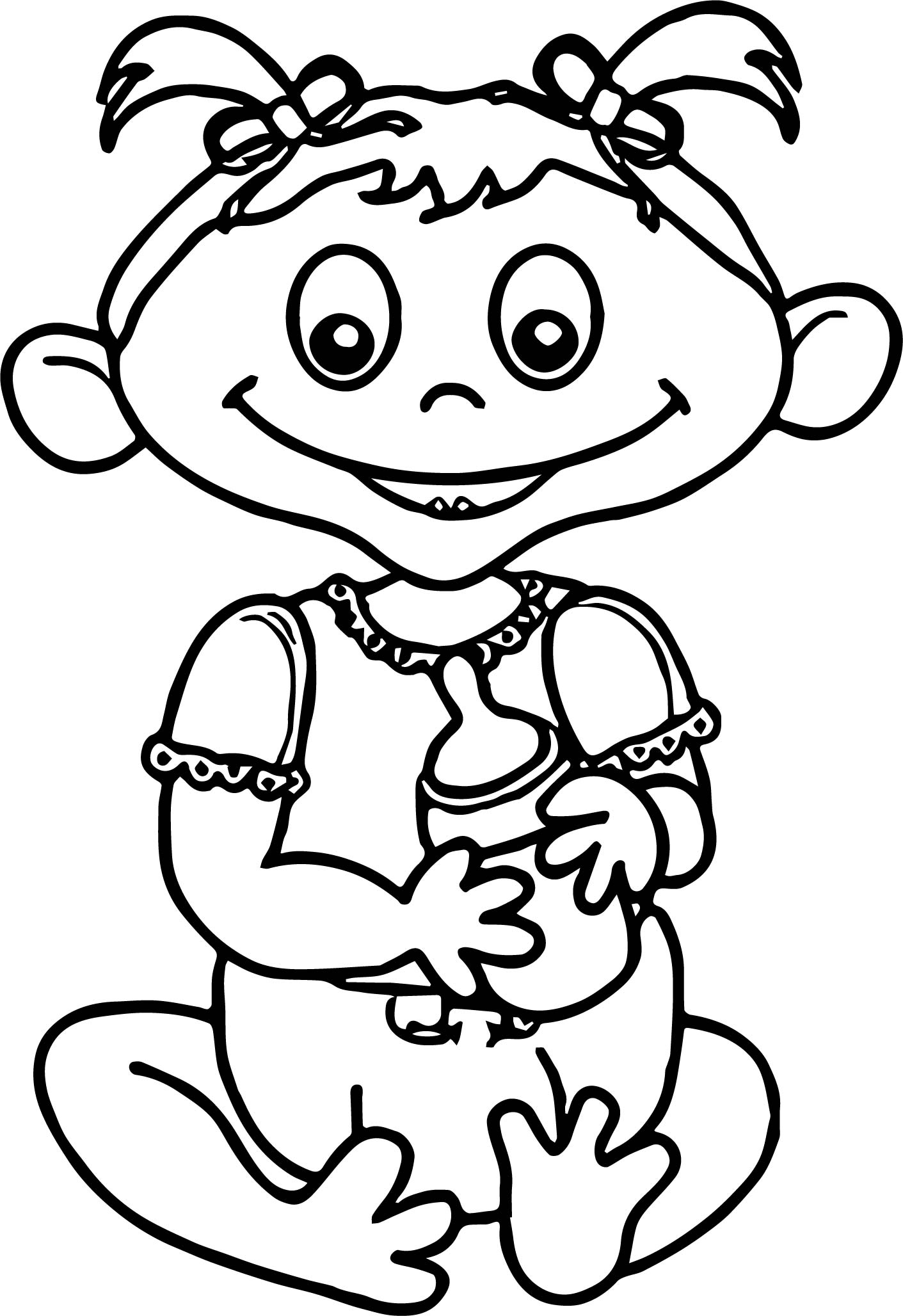 Cartoon Baby Girl With Hair Coloring Page