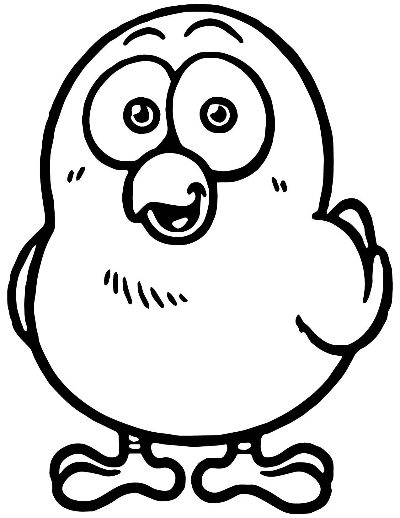 Cartoon Cute Chicken Coloring Page