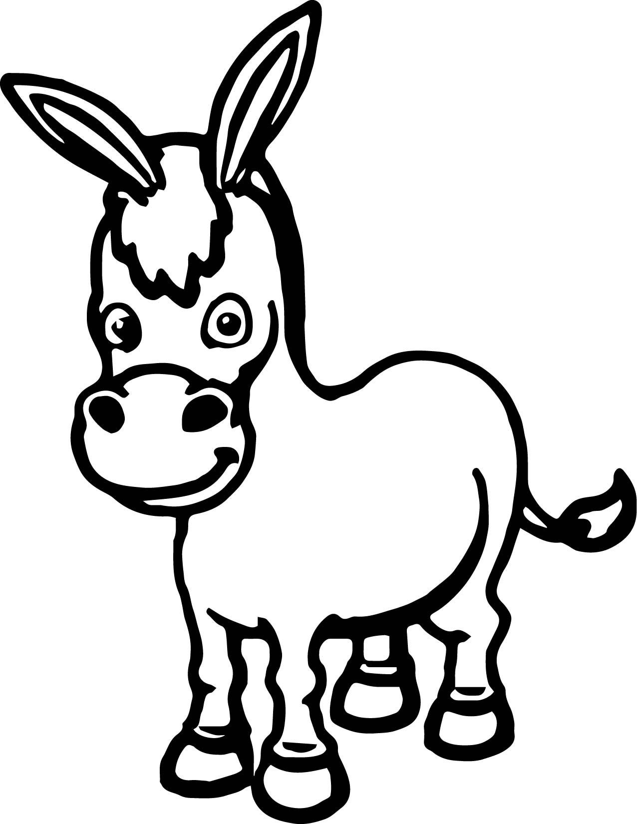 Cartoon Cute Donkey Coloring Page