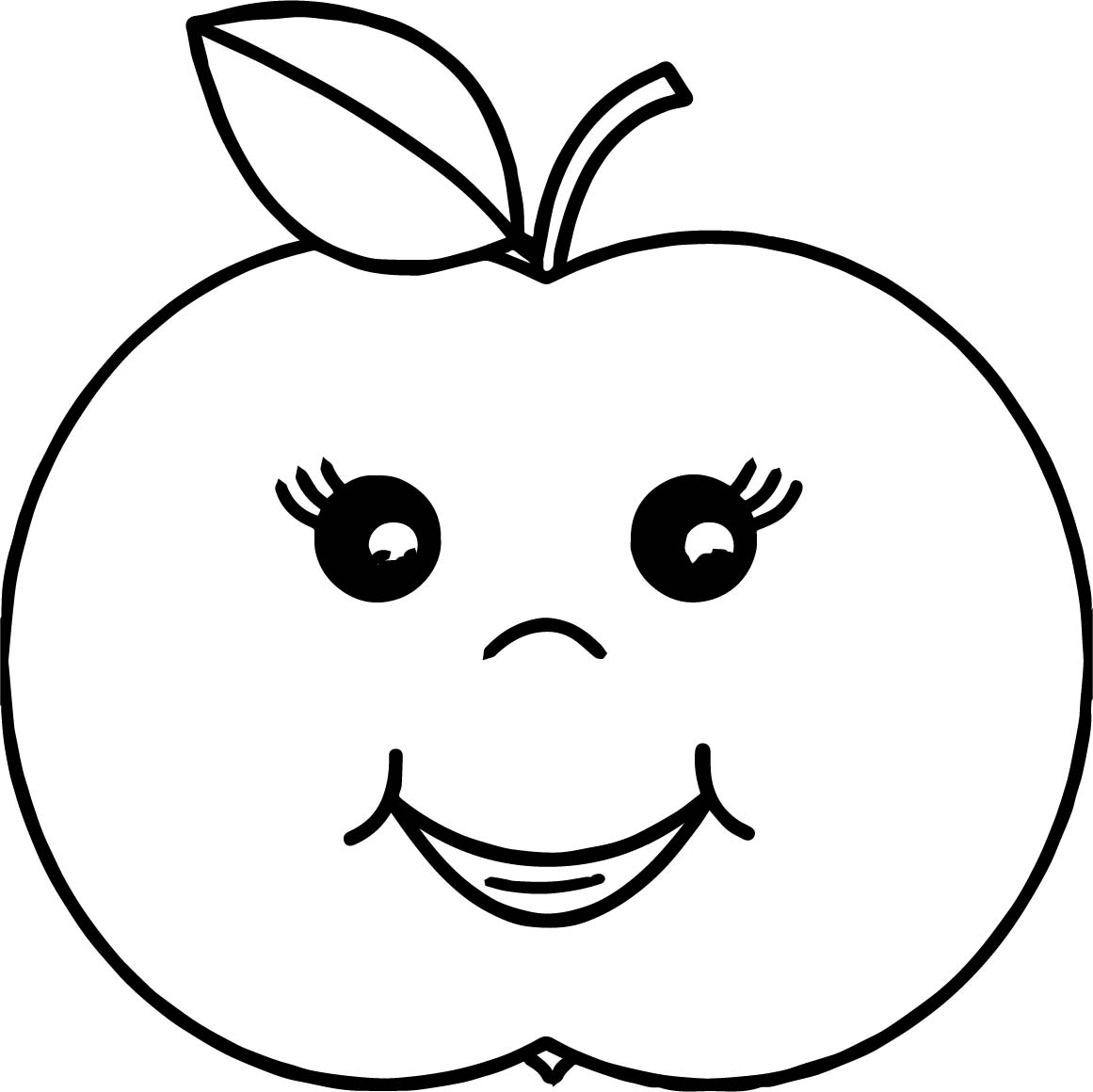 Cartoon Girl Apple Coloring Page