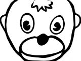 Cartoon Monkey Face Baboon Coloring Page