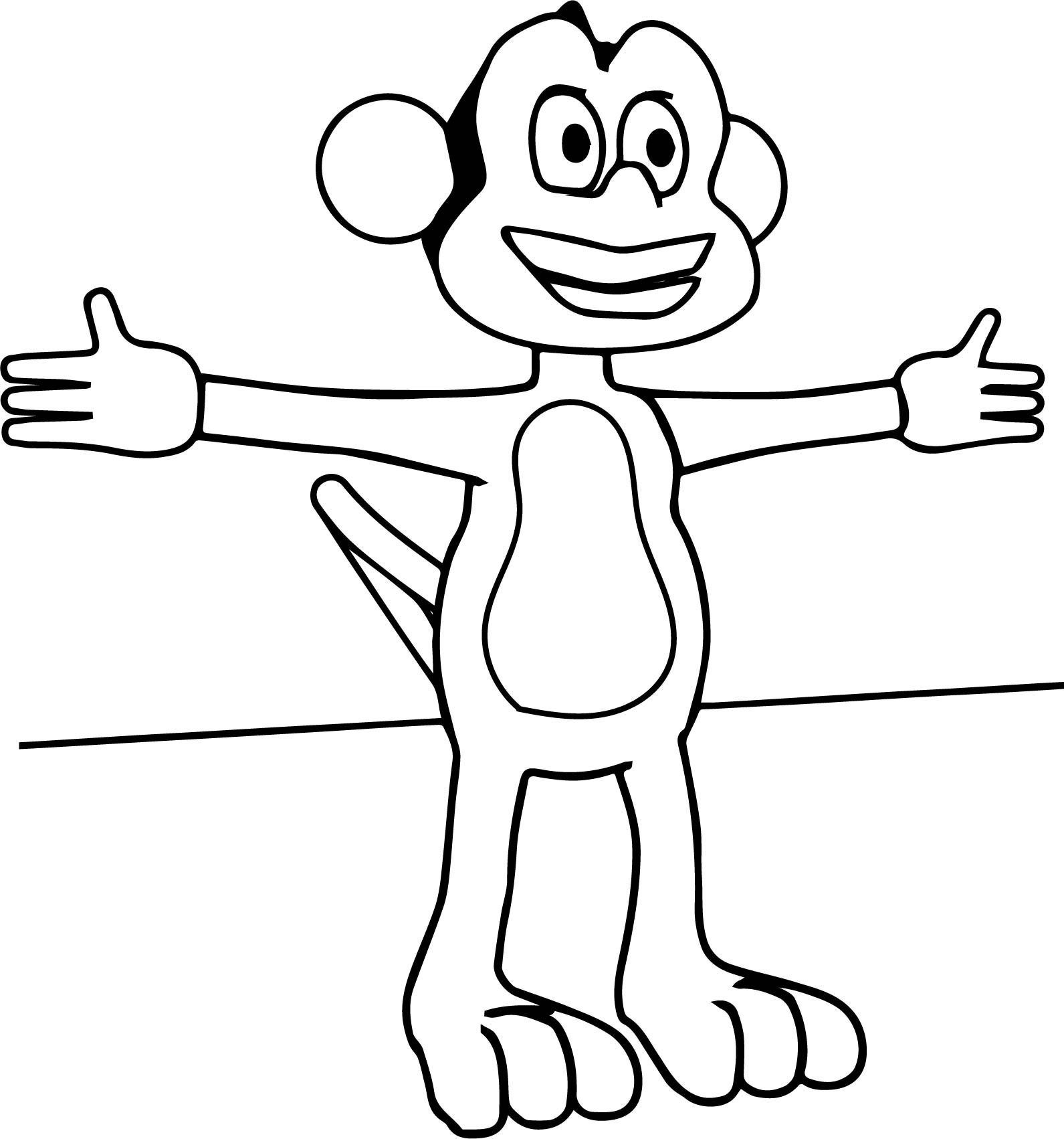Cartoon Monkey Opened Hand Coloring Page