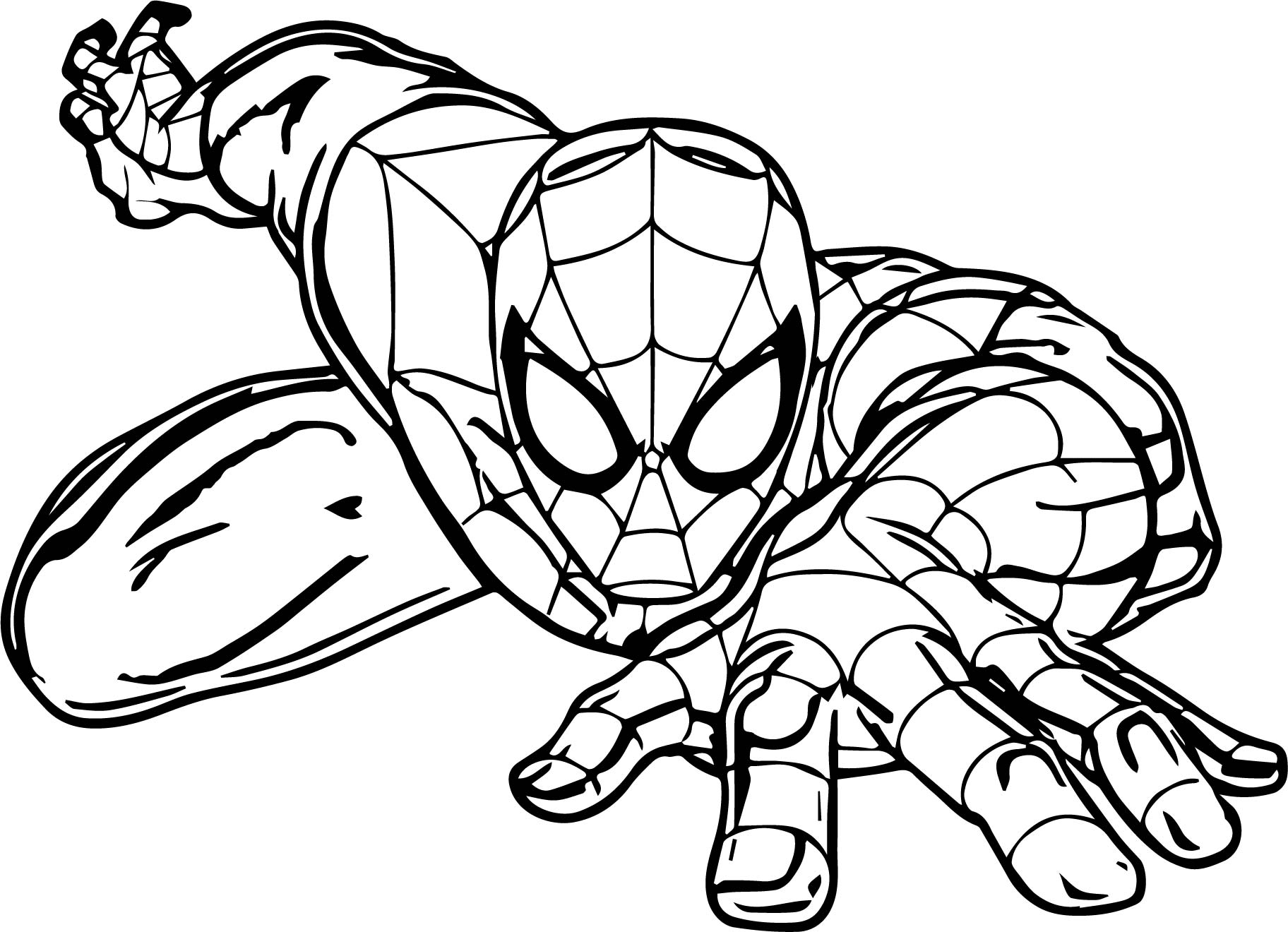 spider girl coloring pages - cartoon spider spider man coloring page