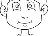 Child Smiling Face Outline Cartoon Coloring Page