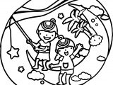 Children Catch Star Summer Coloring Page