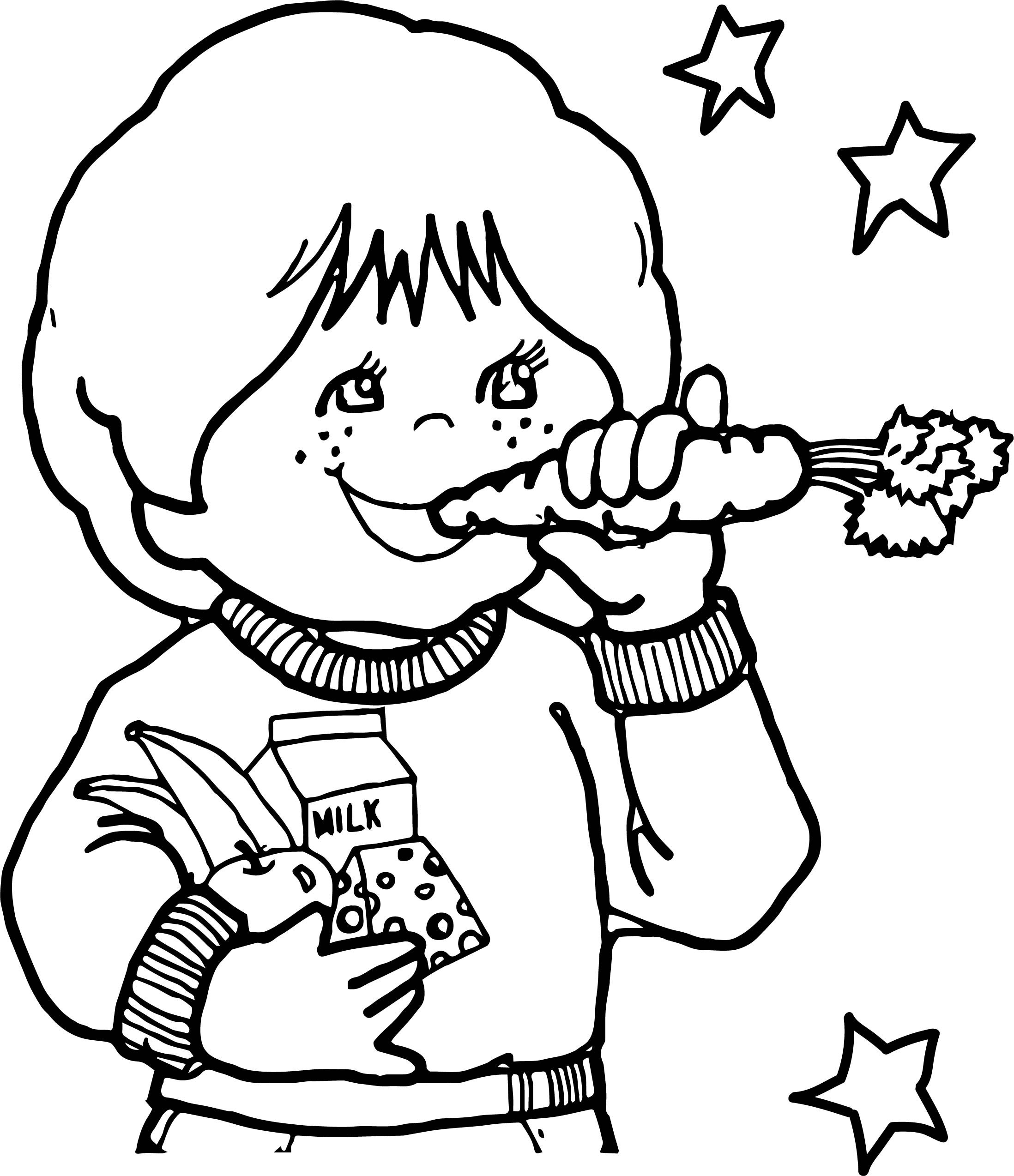 Children Eating Healthy Coloring Page | Wecoloringpage