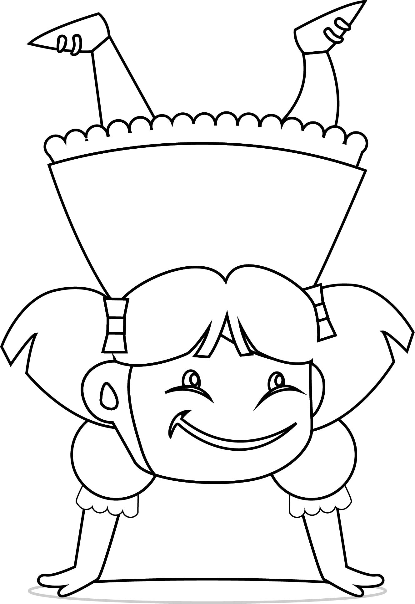 Children Flip Girl Coloring Page