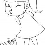 Children Girl And Cat Coloring Page