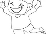 Children Jump Coloring Page