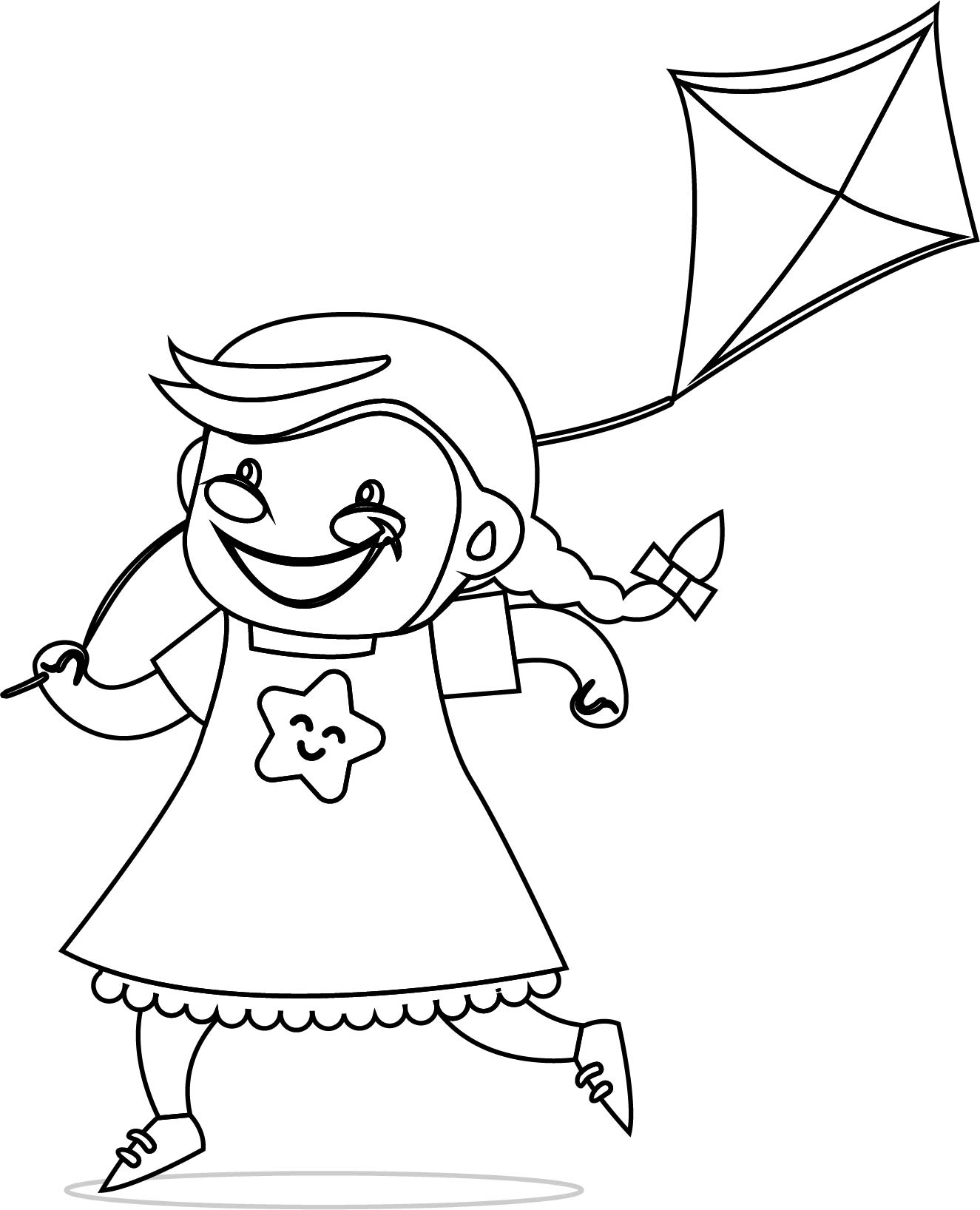 Children Kite Coloring Page