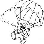Children Parachute Coloring Page