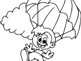 Children Parachute Coloring Page