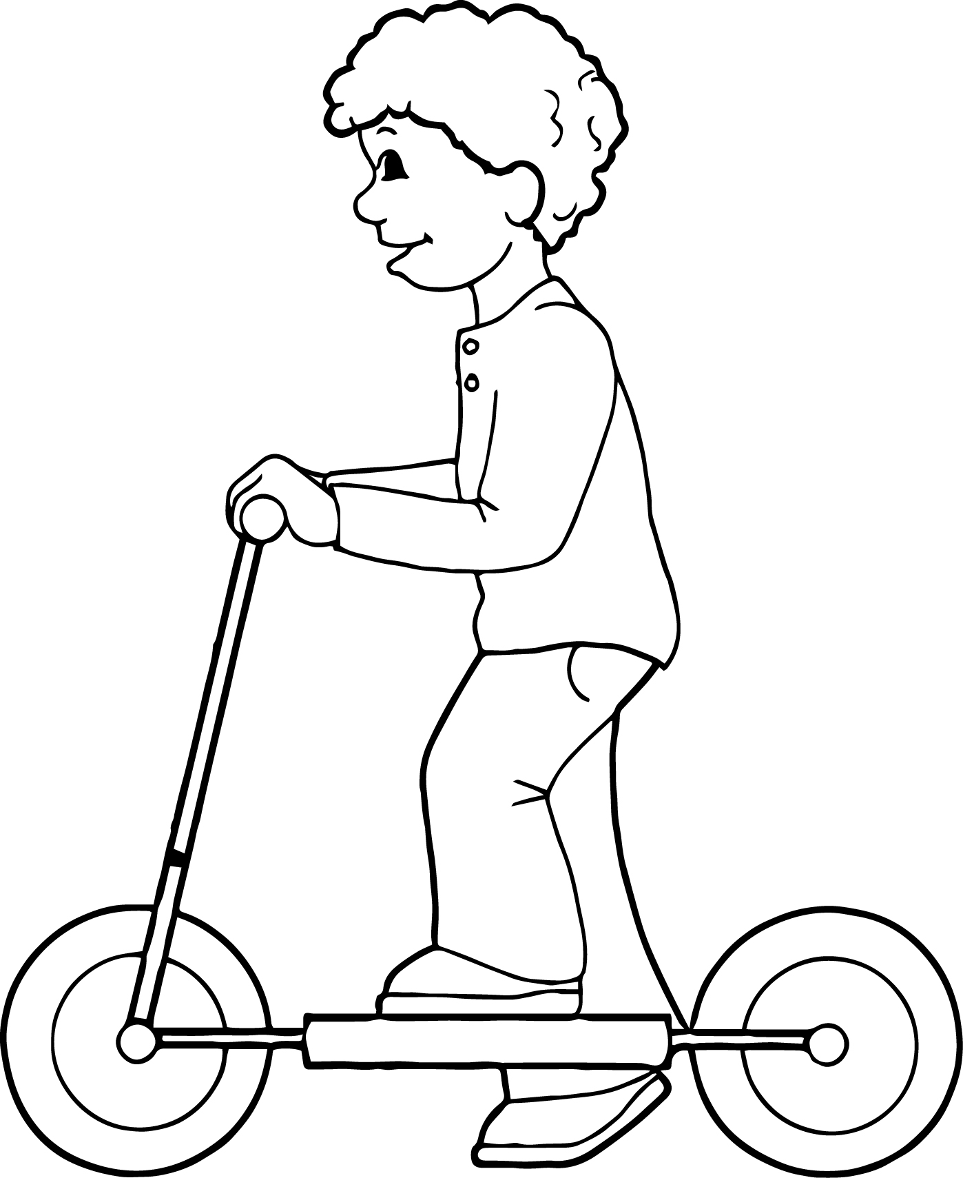 Children Play Biycle Coloring Page