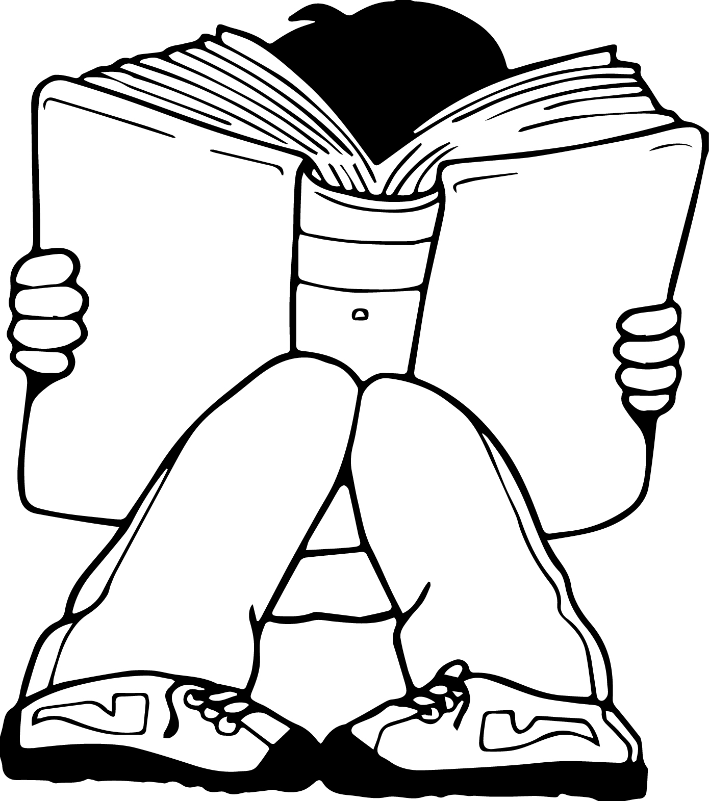 Children Read Big Book Coloring Page