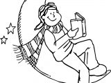 Children Read Book At The Moon Coloring Page